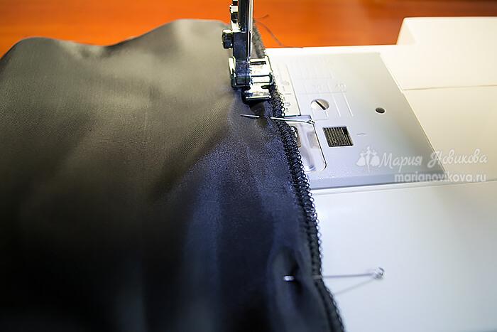 Соединение подкладки с юбкой