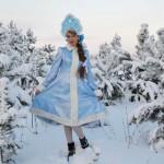 Новогодний костюм Снегурочки с кокошником своими руками