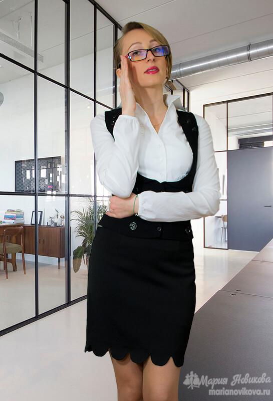 Пошив прямой юбки с фестонами