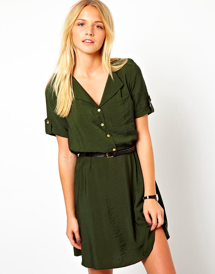 Платье-рубашка в стиле милитари