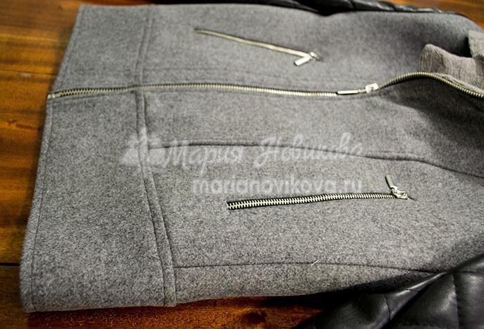 Отделочные строчки по низу куртки