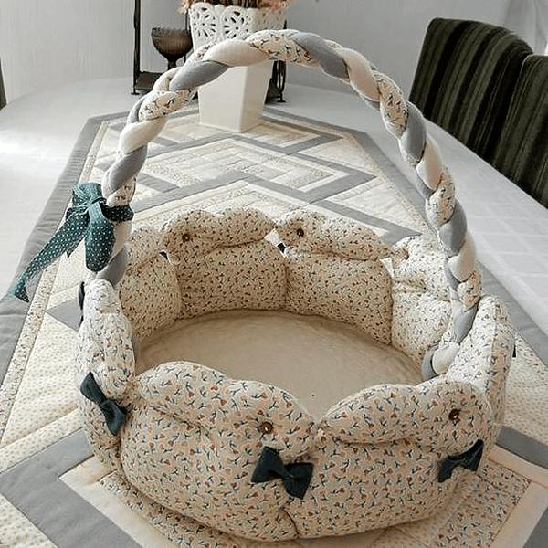 Мягкая корзинка из ткани