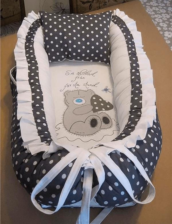 Сшить кокон гнёздышко с аппликацией, подушкой и боковыми карманами