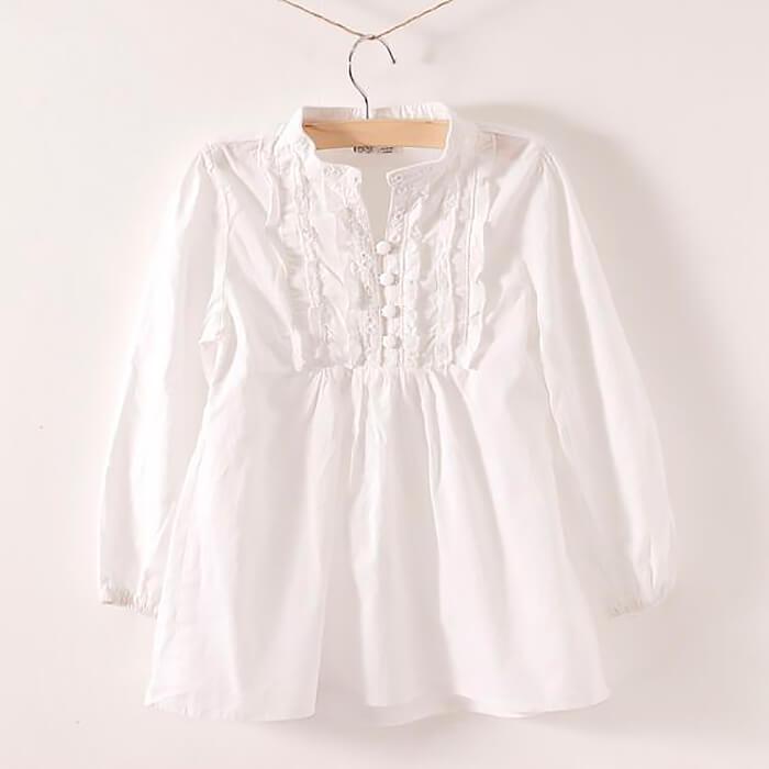 Белая блузка разлетайка для девочки