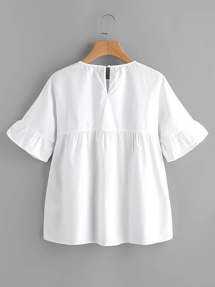 Белая блузка на кокетке (спинка)