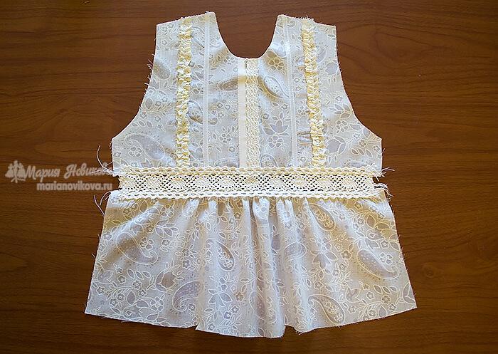 Готовая полочка детской блузки