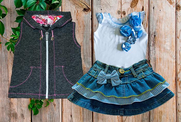 Красивая жилетка с капюшоном для девочки из трикотажа и флиса