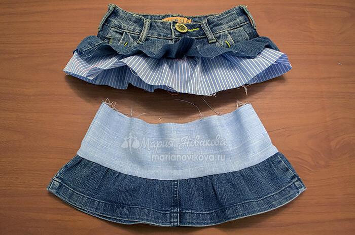 Соединить нижнюю юбку с кокеткой