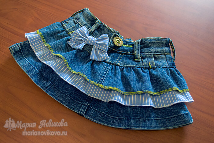 Как сшить юбку для девочки из джинсов