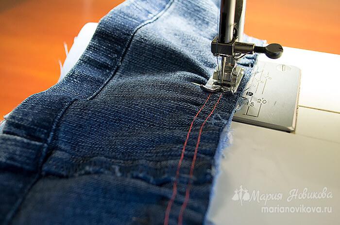 Притачать оборку из джинса к нижней юбке