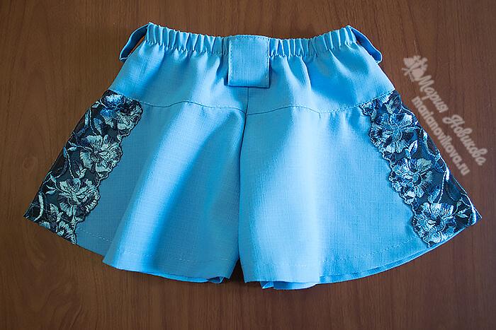 Юбка шорты на резинке со шлёвками