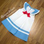 Платье-сарафан со кладками для девочки в морском стиле