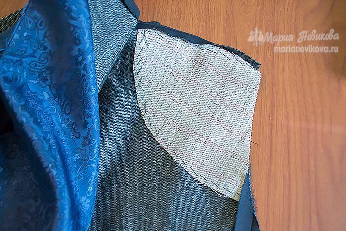 Пришить дублерин на спинке пиджака