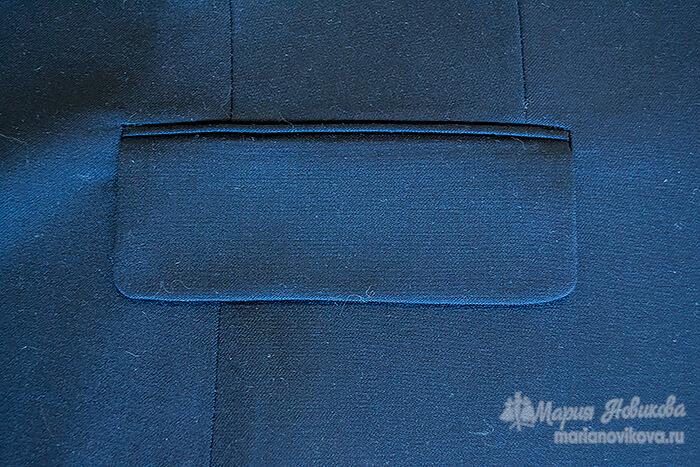Карман в подзоре в мужском пиджаке